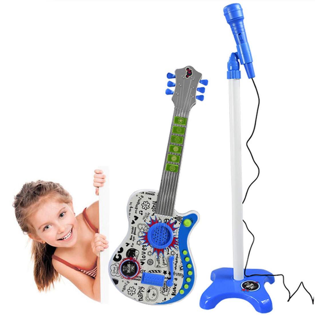Standmikrofon Kinder Karaoke Kinder Functions Musikinstrumente Spiel f/ür Kinder ab 3 Jahre Blau AMITAS 2-in-1 E-Gitarre Kinder Set
