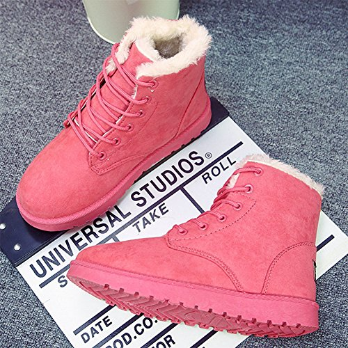 GreatParagon Paragon Winter Women Slippers Boots Ladies Snow Boots Flat Lace Up Ankle Boots Faux Fur Warm Lined Watermelon Red 4kY7I2w