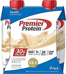 Premier Protein Shake 30g 1g Sugar 24 Vitamins Minerals Nutrients to Support Immune Health, Vanilla, 44 Fl Oz, (Pack of 4)