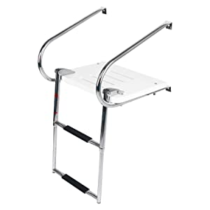 DasMarine Universal Inboard Fiberglass Swim Platform Under Mount Fold Down 2 Step 316 Stainless Steel Ladder with Two Handrails(Mounting Screws are Included)