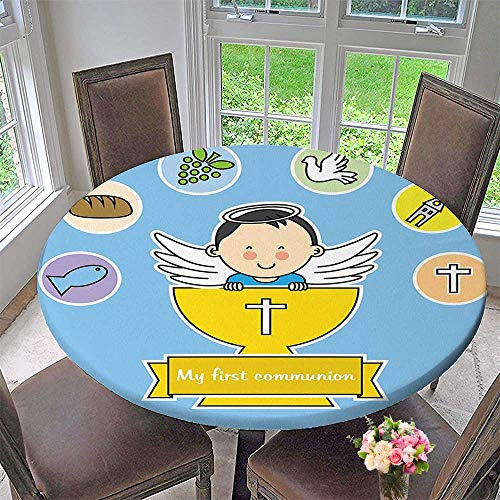 - Mikihome The Round Table Cloth My First Communion Sign Boy Baptism Grapes Cup Bread Candle Fish Wings Artwork for Birthday Party, Graduation Party 40
