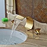 Sukmw Solid Brass Big Waterfall Bathroom Basin Faucet Dual Handles Vanity Sink Mixer Tap Golden Finish