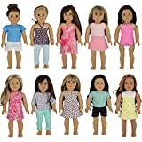 "PZAS Toys Doll Clothes for American Girl - Wardrobe Makeover, 10 Outfits, Fits 18"" Dolls"