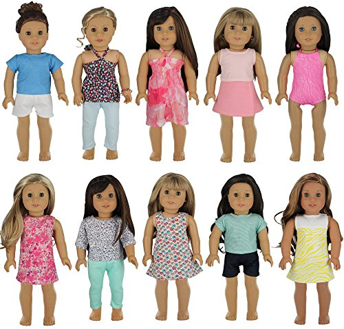 PZAS Toys Doll Clothes for American Girl - Wardrobe Makeover, 10 Outfits, Fits 18