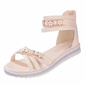 Sandalen Damen Sommer Elegant Flach Mumuj Mädchen Dicke Bequem Sandalen Strand Outdoor Schuhe Weiches Leder Freizeit Rutschfest Sandalen Hausschuhe Flip Flops (40, Beige)