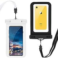 GeeRic Paquete de 2 Fundas Impermeables para Celular,Waterproof Phone Pouch Case para iPhone X/XR/XS/XS MAX/8/7/6/6s/6splus/Galaxy S10 Plus/S10/S9/S8/S7/Huawei P30/P30 Pro/P9 USW. bis 6,5 Pulgada