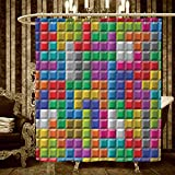 Video Games Shower Curtains With Shower Hooks Colorful Retro Gaming Computer Brick Blocks Image Puzzle Digital 90s Play Bathroom Accessories 60''x72'' Multicolor