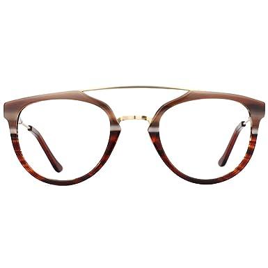 c983bc998add Zeelool Acetate Stylish Aviator Eyeglasses for Men Full Rim Chic Non- Prescription Watson FX0239-