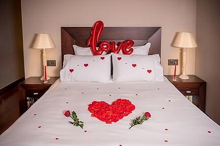 Pack ROMÁNTICO TE Quiero (100 Pétalos Rosa Preservados +2 Rosas con Tallo Preservadas+1 Globo Love+6 Corazones Fieltro+4 Love+20 Mini Corazones ...