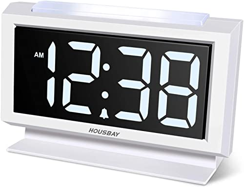 Housbay Digital Alarm Clocks for Bedrooms – Handy Night Light, Large Numbers with Display Dimmer, Dual USB Chargers, 12 24hr, Outlets Powered Compact Clock for Nightstand, Desk, Shelf