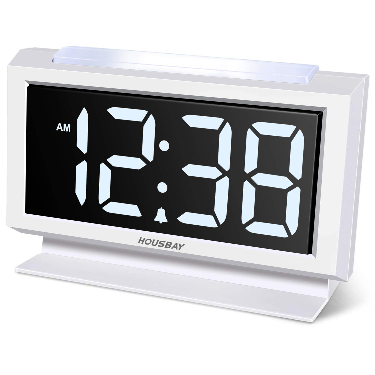 Housbay Digital Alarm Clocks for Bedrooms - Handy Night Light, Large Numbers with Display Dimmer, Dual USB Chargers, 12/24hr, Outlets Powered Compact Clock for Nightstand, Desk, Shelf