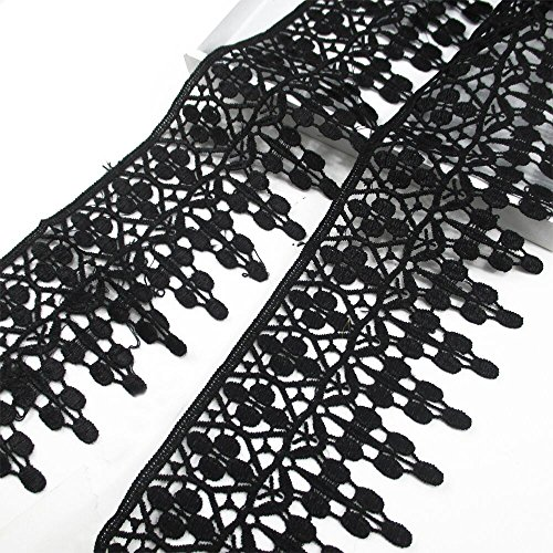 Lace Trim Applique 5 Yards DIY Craft Clothing Sewing Accessories Cotton Lace (Black)
