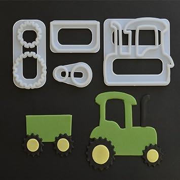 Yinew 4 Stk Traktor Kunststoff Schneiden Form Zucker Kuchen Druck