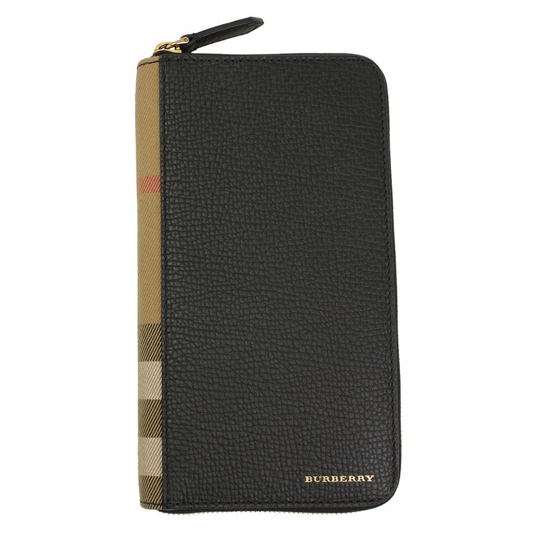 (バーバリー) BURBERRY ジップアラウンド長財布 レザー ブラック×チェック柄 4039740-BLACK [並行輸入品] B06W566NG9