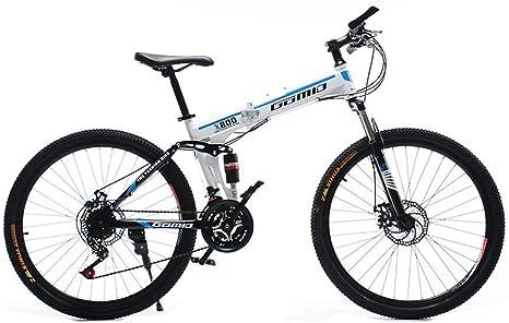 Bicicleta de montaña plegable de acero de alto carbono duradero de 21 pulgadas Bicicleta de carretera Bicicleta de pista urbana Cambio de velocidad 24 Hombres y mujeres Amortiguador de doble amort: Amazon.es: