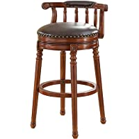 European Style Round Wooden Swivel Counter Stool with Leather Padded Seat and Back, Height Stool Coffee Shop Stool…