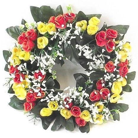 Corona De Flores Artificiales De 30 Cm Con Rosas En