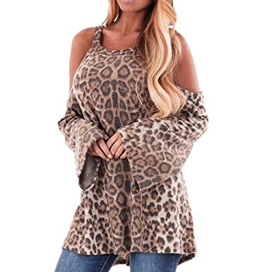 Blusa para Mujer Lonshell Otoño Invierno Moda O-Cuello sin Tirantes Estampado de Leopardo Casual Manga Larga Camisa Tops Camiseta: Amazon.es: Ropa y ...