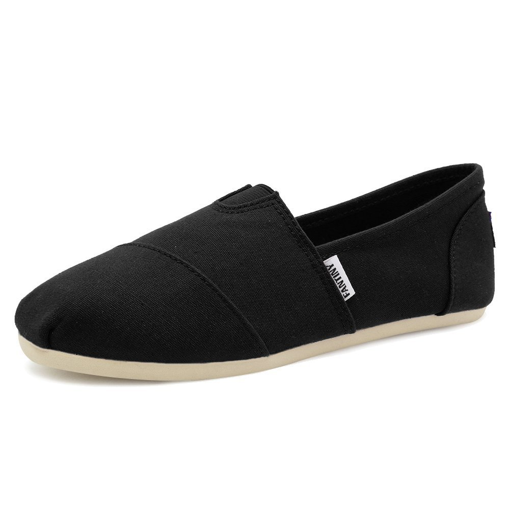 Fantiny Women's Classics Canvas Shoes Flats Loafers Slip on CasualShoes with Memory Foam Insole Shoes