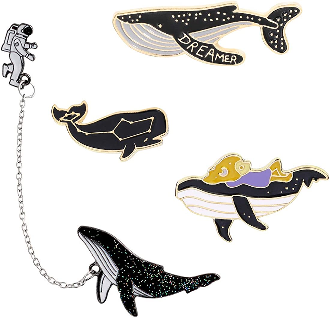 Whale Enamel Pin Cute Sea Ocean Animal Fish Dolphin Shark Mermaid Blue Whale Lapel Pin for Jacket Backpack Bag