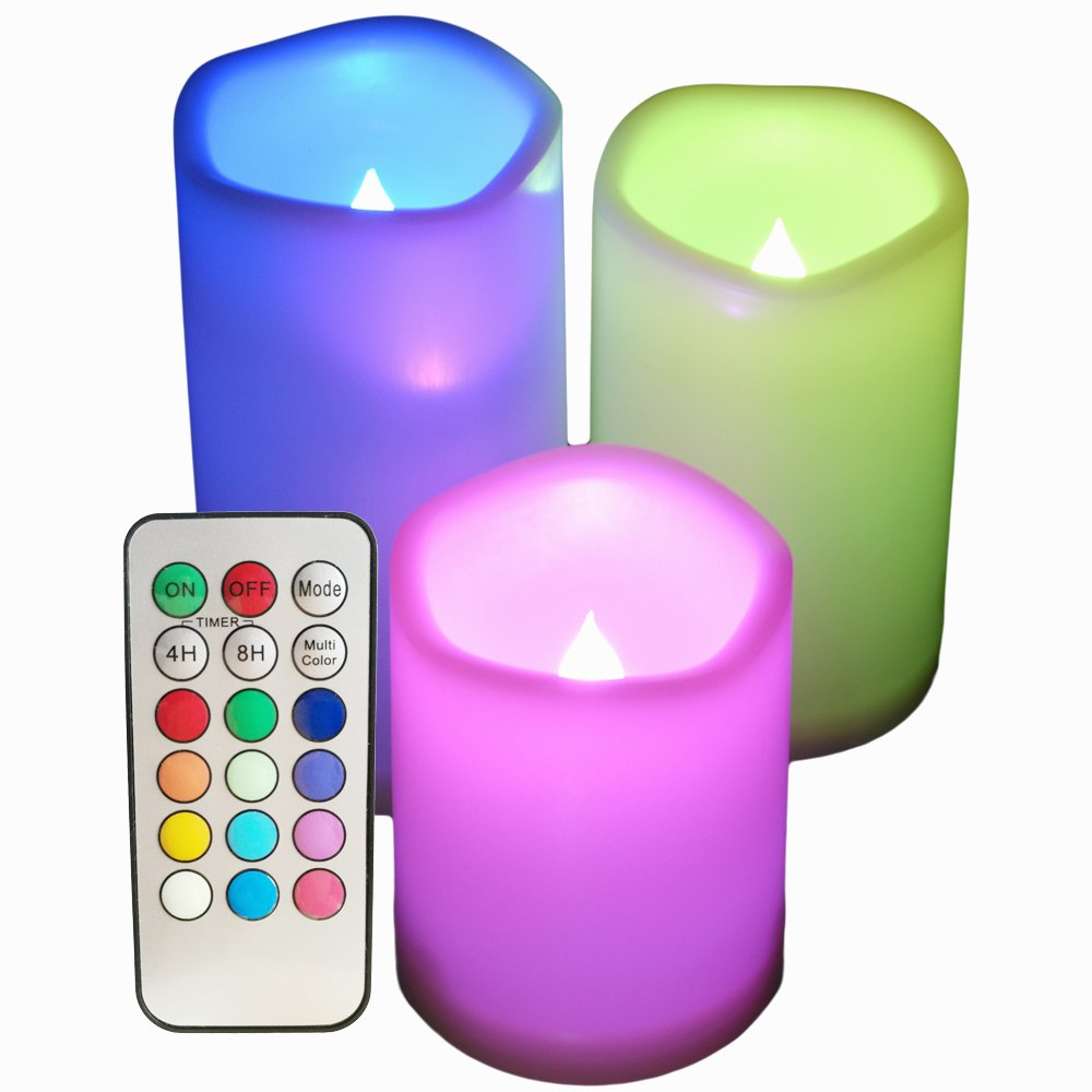 SWEETIME Multi-Color Flameless Candles with Remote and Timer – Set of 3 Flickering Colored Flame Candles, Outdoor Waterproof Candles for Weddings and Birthday Gifts