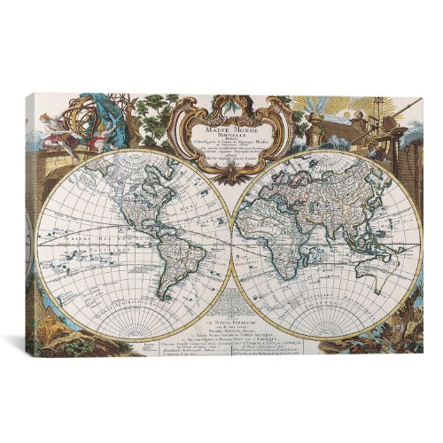 iCanvasART Antique Double Hemisphere Map of The World Canvas Art Print, 18 by 12-Inch