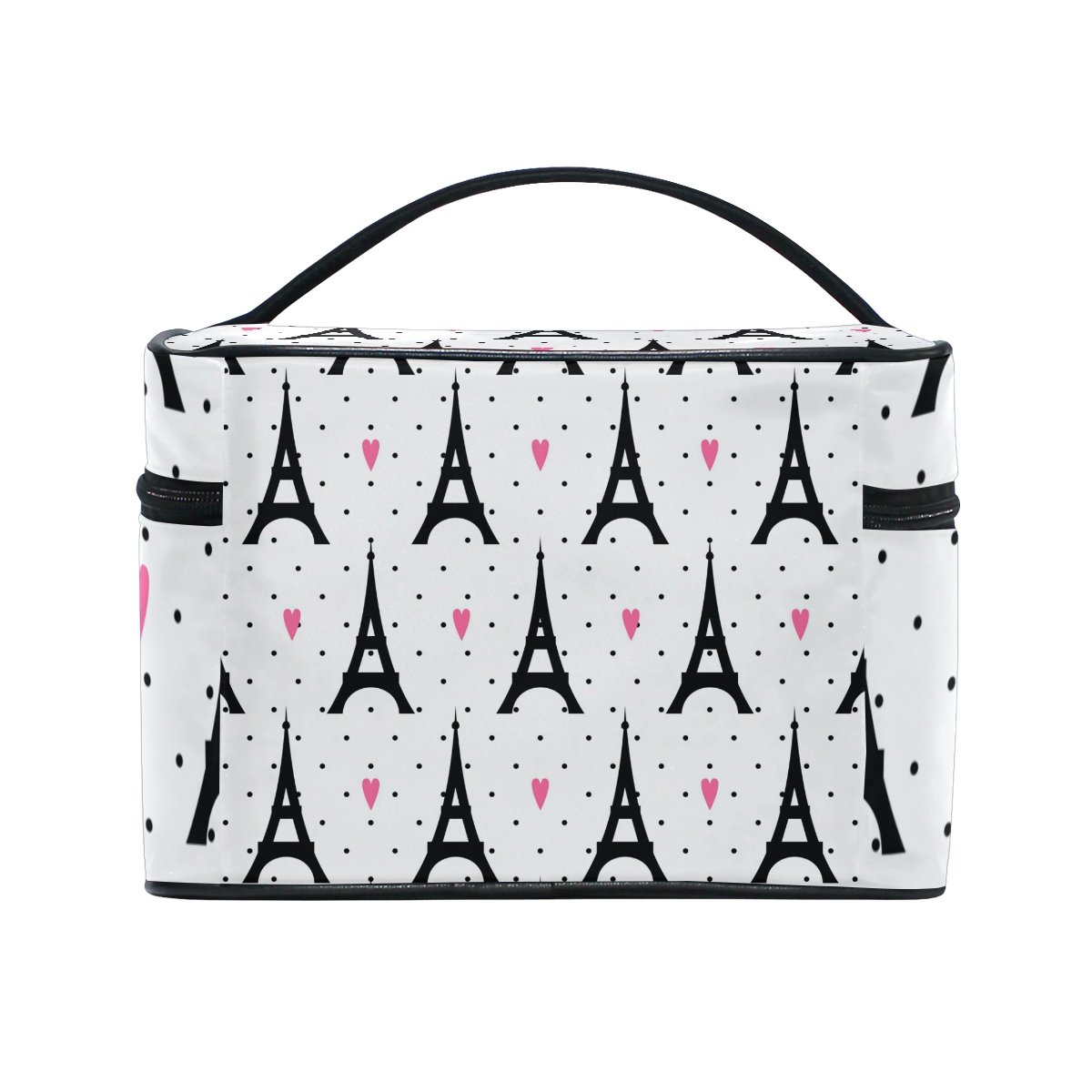 GIOVANIOR Paris Eiffel Tower Love Print Large Cosmetic Bag Travel Makeup Organizer Case Holder for Women Girls by GIOVANIOR (Image #4)