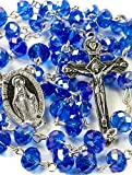 Best Nazareth Market Store Man Medallions - Fine Blue Crystal Beads Rosary Catholic Necklace Miraculous Review