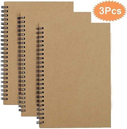 Espiral Cuaderno de Bocetos A5, Pack de 3 Cuaderno de Dibujo Bloc ...