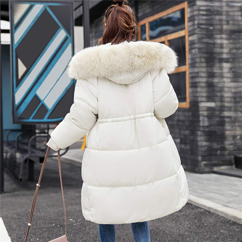 YKARITIANNA Women Quilted Long Sleeve Outerwear Cotton-Padded Jackets with Pocket Faux Fur Hooded Long Coats