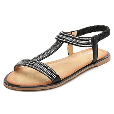 741a4b79825220 Womens Glitter Thong Flat Sandals Elastic Ankle Strap Gladiator Roman Sandal  Casual Summer Beach Shoes