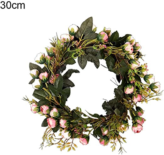 Home Rattan Wreath Party DIY Hanging Garland Decors Wedding Artificial Flowers