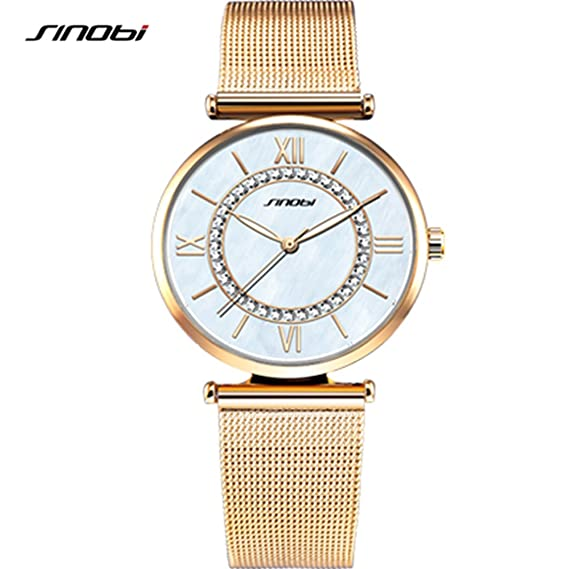 SINOBI Womens Diamond-Accented Gold-Tone Watch with Mesh Bracelet, Simple Roman Numeral
