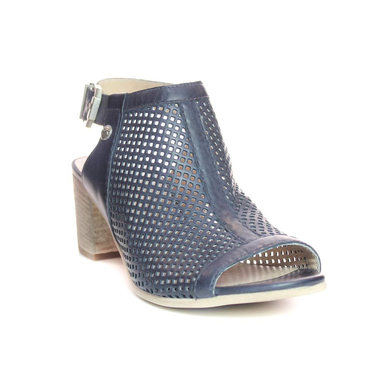 Blau schwarz Giardini P908170D Damen modische Sandalette aus Glattleder mit 50-mm-Absatz