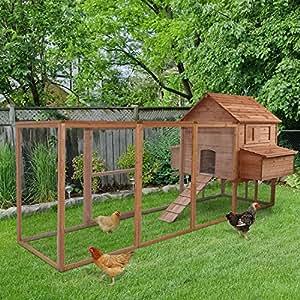 Generic madera c aves mascotas madera CH Coop casa 12pies de madera 12pies de madera pollo aves de corral PE 2–Caja nido para pájaros Run St Caja Run Jaula Patio ST caja Run
