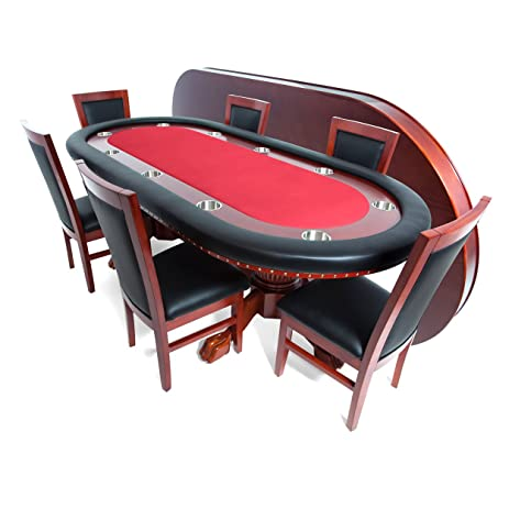 BBO Poker Rockwell Poker Table For 10 Players With Red Felt Playing  Surface, 94 X