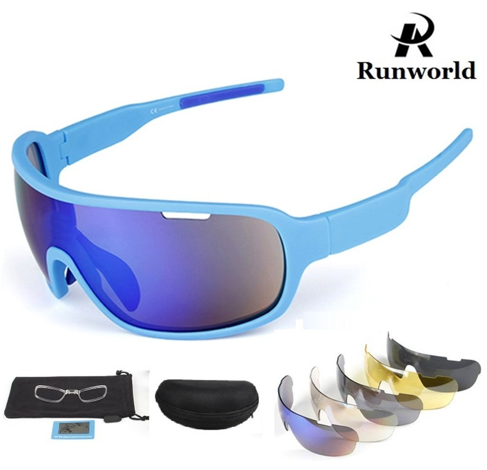 Runworld Sports Sunglasses for Men Women with 5 Interchangeable Lenses Outdoor Sport MTB Cycling Running Driving Baseball Glasses Eyewear UV Protection