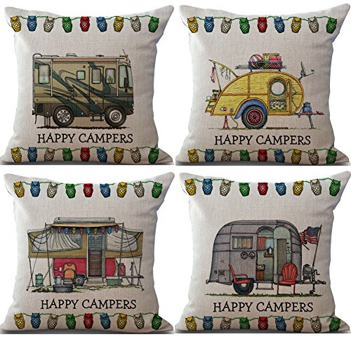 Rita Home Decor 4 Pack Cute Cartoon Camping Car Happy Campers Throw Pillow Covers 18x18 Inch Cushion Cover Pillowcase With Zipper Cotton Linen Burlap Square Pillow Cover for Sofa Home Decor