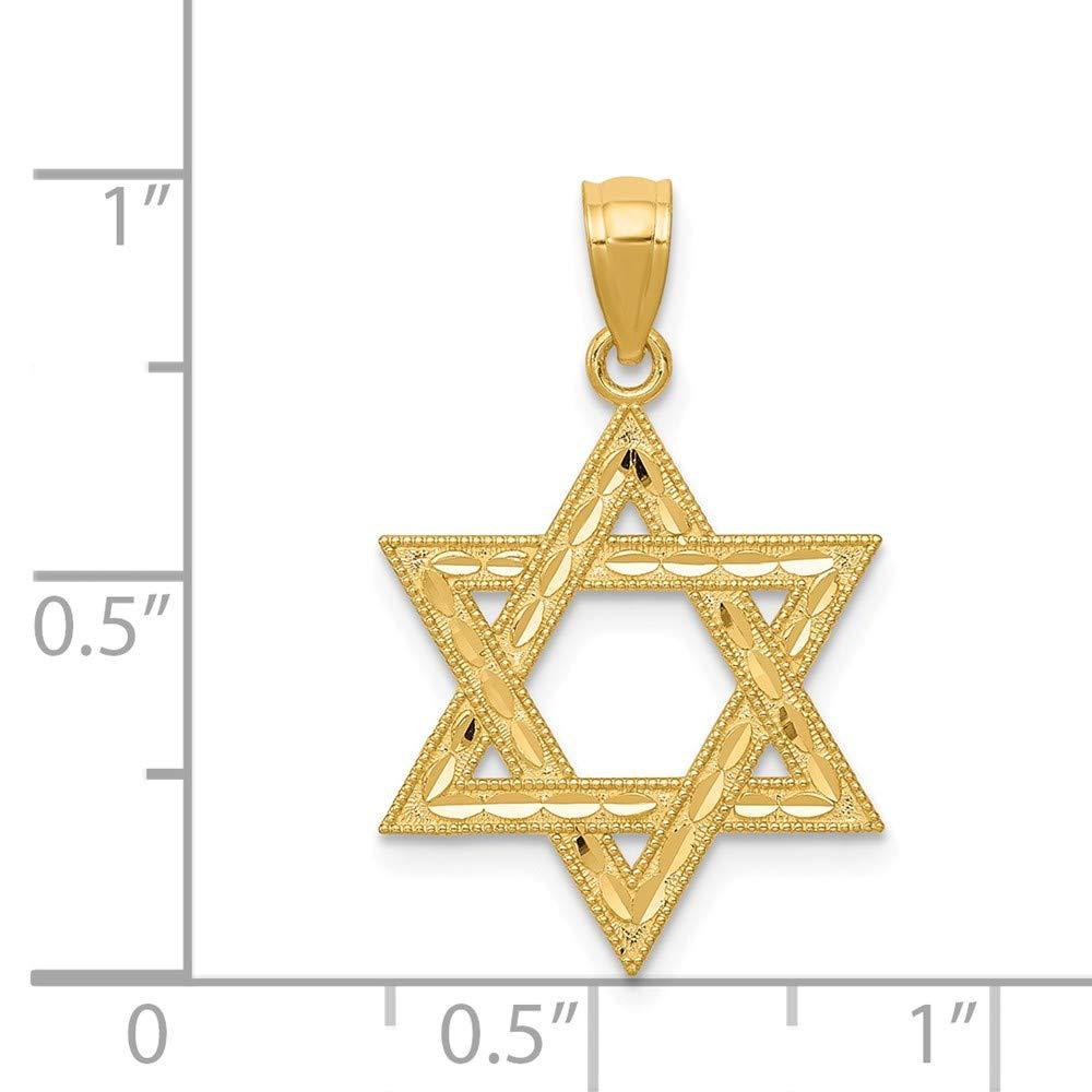 Mia Diamonds 14k Yellow Gold Diamond-cut Polished Star of David Pendant