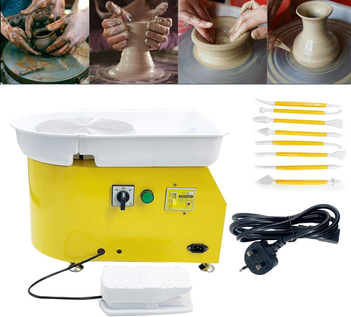 25cm Turntable Ceramic Clay Making Pottery Machine 300r//min Pottery Wheel with Foot Pedal Ceramic DIY Craft for School Teaching Pottery Bar Home TABODD Electric Pottery Machine with 8 Shaping Tools