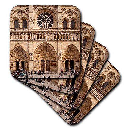 3dRose Front Catedral de fachada de Notre Dame, París, Francia.–Baldosas De Cerámica posavasos, conjunto de 4(CST _...