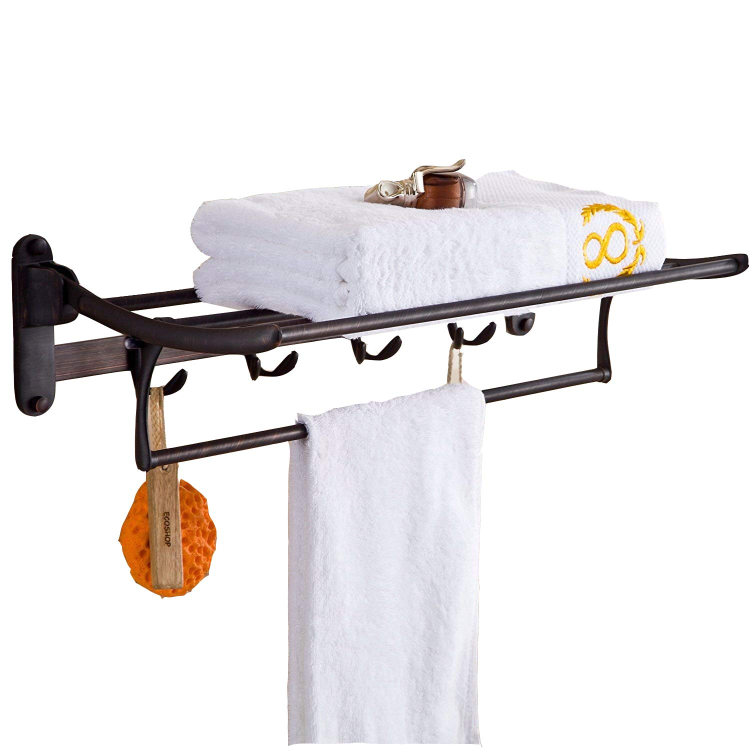 ELLO&ALLO Oil Rubbed Bronze Towel Racks for Bathroom Shelf with Foldable Towel Bar Holder and Hooks Wall Mounted Multifunctional Racks