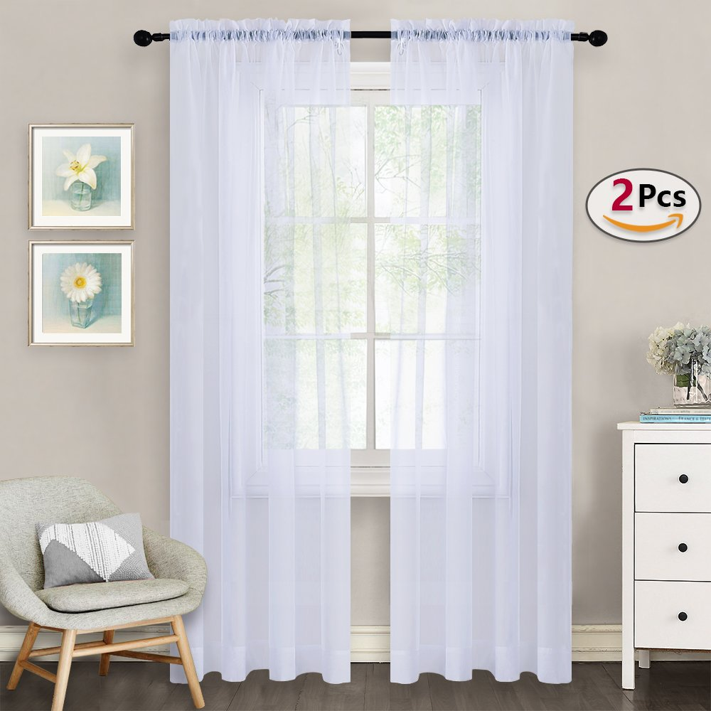 Premium White Sheer Curtains 84 - Nicetown Rod Pocket Window Treatment High Density Sheer Voile Drapes for Bedroom