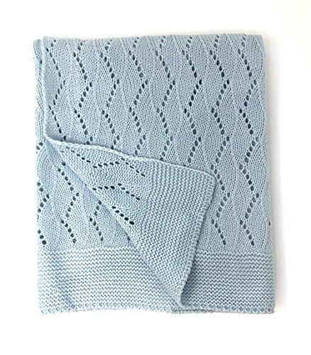 Effe Bebe Ravelry Knitted Baby Blanket 30 X40   French Blue