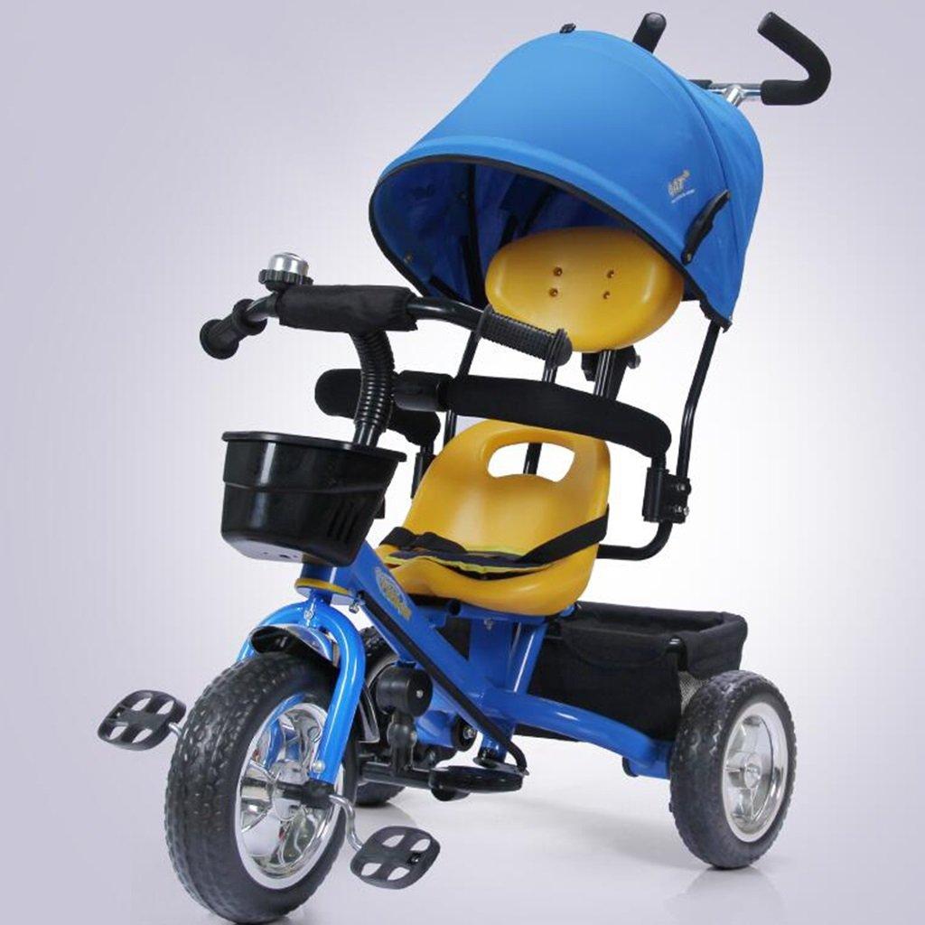 HAIZHEN マウンテンバイク 子供用三輪車1-5歳調整サンシェード日焼け止めアンチUV自転車ショックアブソーバ泡ホイールトロリーベビーキャリッジ 新生児 B07DL6NN8S 青 青
