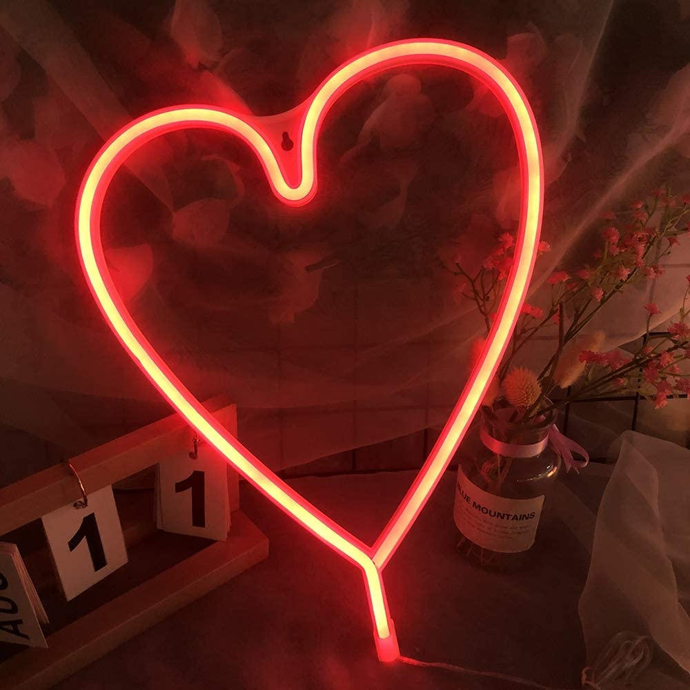 Red Neon Sign for Wall Decor Bedroom Neon Light Battery USB Cable Operated Night Light Kids Room Girls Room Heart Neon Sign Plug in Wall Art Decor Home Kitchen Living Room Christmas Festival Gift