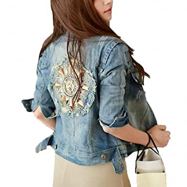 Back Rivet Horn Design Denim Jacket Women NEW Spring Holes Short Jaqueta Jeans Female Streetwear Casual
