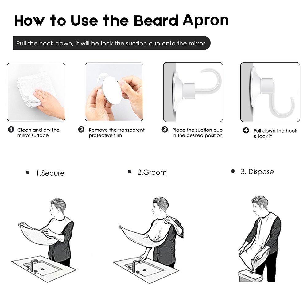 Allescool Barba Grembiule con ventose per specchio, Cattura barba e capelli grembiule da toeletta, Lasciate che il Vostro Bagno Pulire - Nero