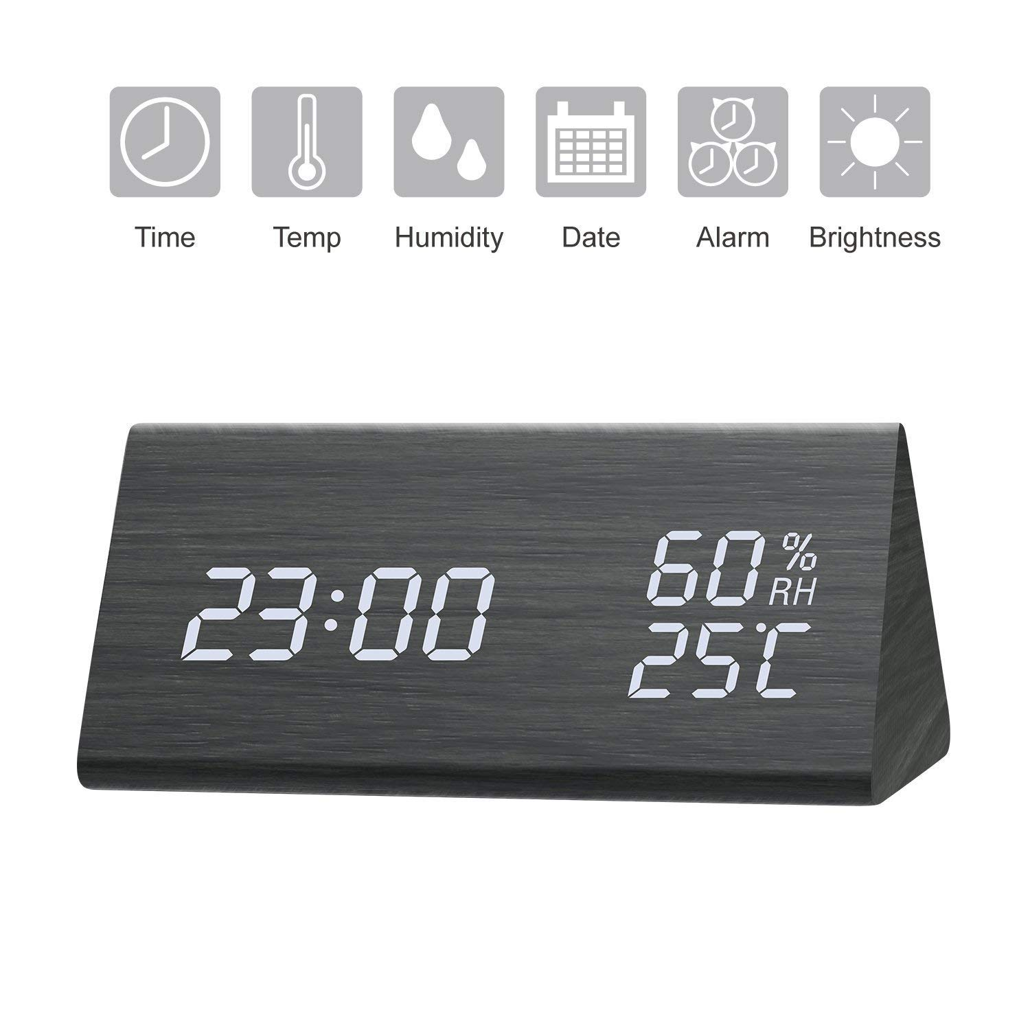GEEKERS Digital Alarm Clock, 6.5'' Large Display Alarm Clock with Dual USB Charger Port, Dimmer and Big Snooze, LED Clock with Mirror Surface, Suitable for Bedroom, Home, Office Décor Office Décor
