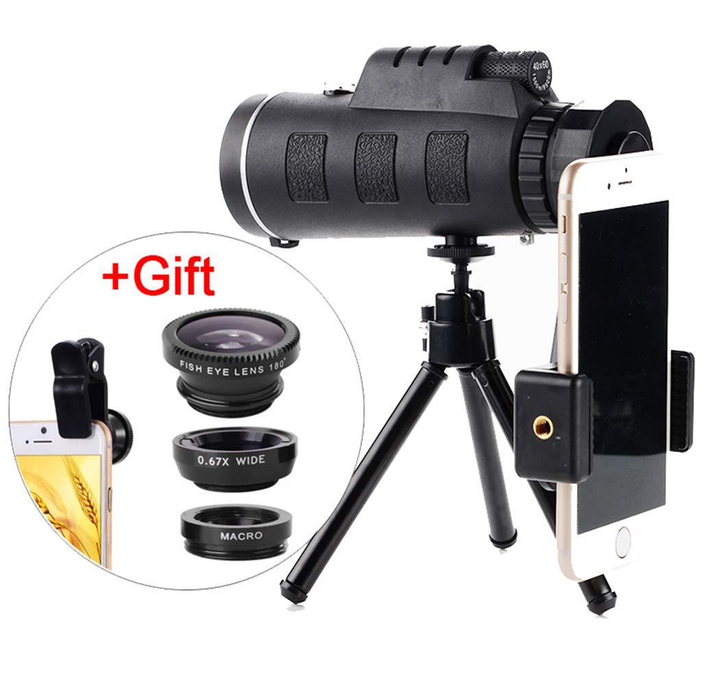 ZXYWW Cell Phone Camera Lens, 40X60 Zoom for Smartphone Monocular Telescope Scope Camera Camping Hiking Fishing with Compass Phone Clip Tripod